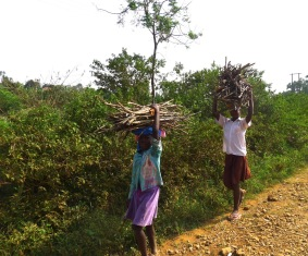 Our neighbour girls find firewood in the hills for daily cooking and bathing